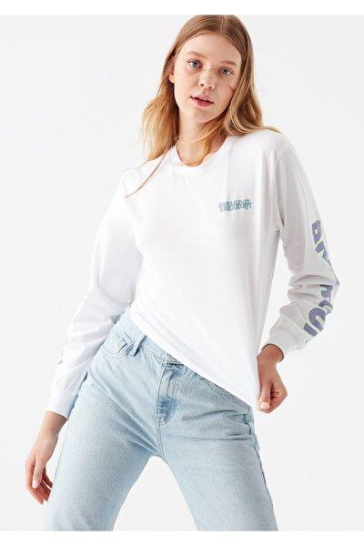Breakout Baskılı Beyaz Sweatshirt