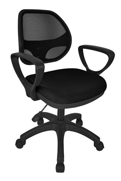 Fileli Kollu Personel Koltuğu Ofis Koltukları Büro Bilgisayar Koltuğu Sekreter Sandalyesi - Siyah