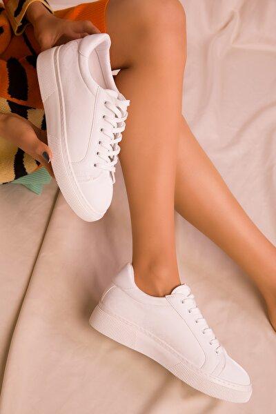 Beyaz Yılan Kadın Sneaker 15742