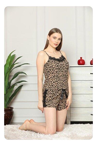 Kadın Askılı Mini Şortlu Desenli Pijama Takımı 80116-3