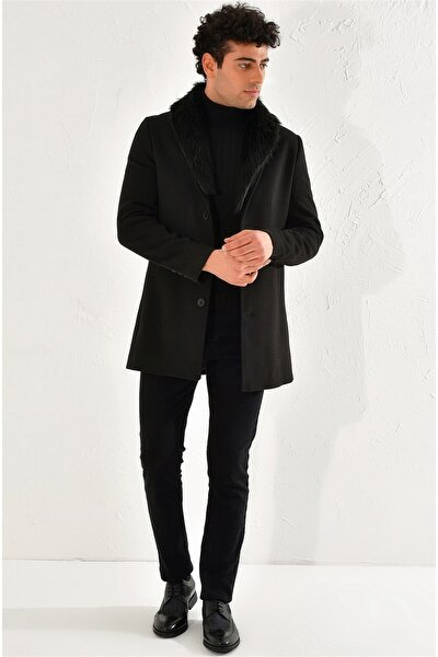 Erkek Siyah Slim Fit  Klasik Palto