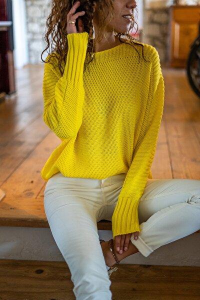 Kadın Sarı Yarasa Kol Selanik İnce Örme Kazak GK-CCK76051