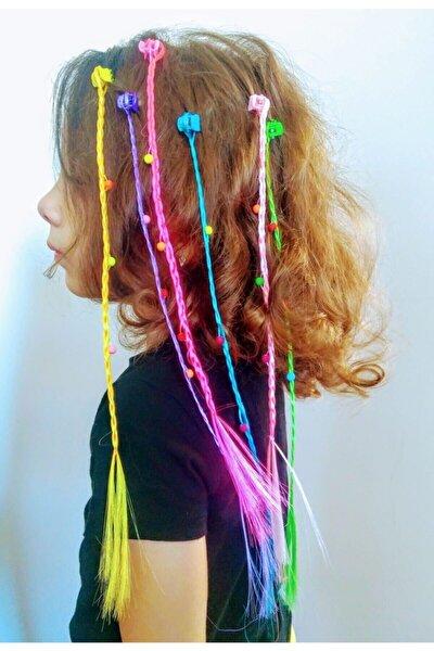 Kız Çocuk Renkli 6 Adet Örgülü Mandal Tokalı Saç Aksesuar Seti