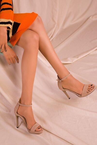 Ten Süet Kadın Klasik Topuklu Ayakkabı 14530