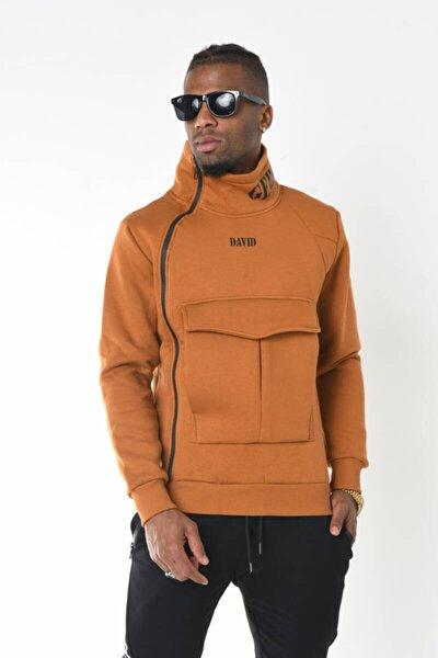 Hardal Yaka Detaylı Kanguru Cep Üç Iplik Sweatshirt