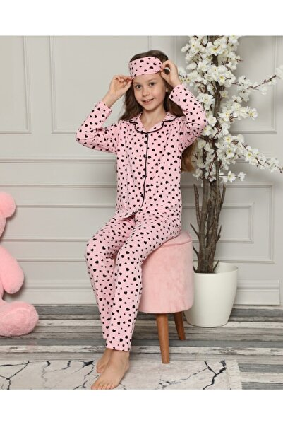 4 Mevsim Kız Genç Kalp Bask. Göz Bantlı Düğmeli Pijama Takımı 12131