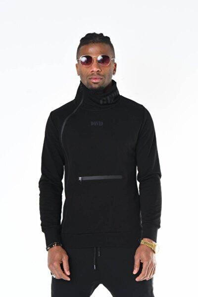Siyah Yaka Baskı Ve Fermuar Detaylı Sweatshirt