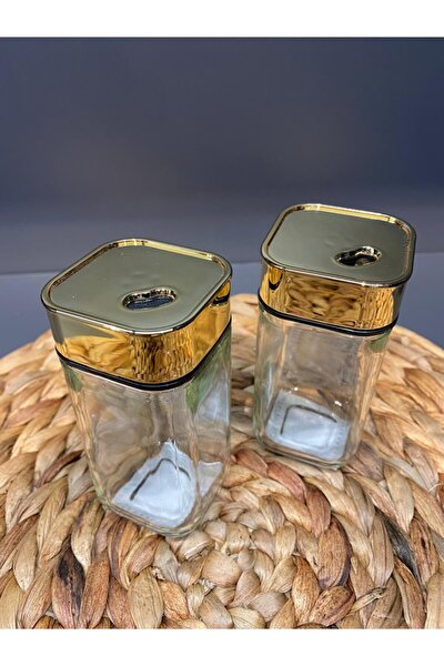 2 Li Gold Mika Kapaklı Cam Tuzluk Tr-1836