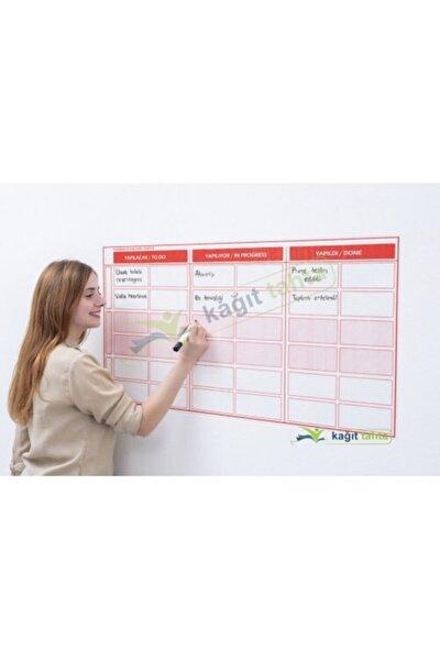 Kanban Planlayıcı Takvim Çizelgesi 100x52 Cm Kağıt Tahta +2 Adet Doldurulabilir Tahta Kalemi Hediye
