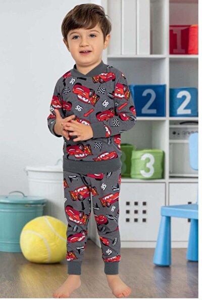 Erkek Çocuk Antrasit Arabalar Baskılı Pamuk Içerikli Pijama Takımı 6355