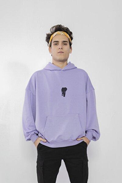Unisex Özel Tasarım Chaos Lila Oversize Kapüşonlu Sweatshirt