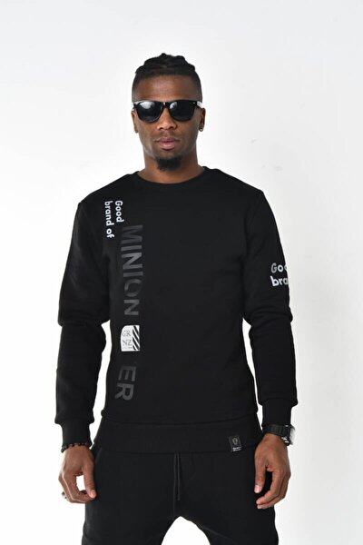Siyah Good Brand Baskı Üç Iplik Bisiklet Yaka Sweatshirt