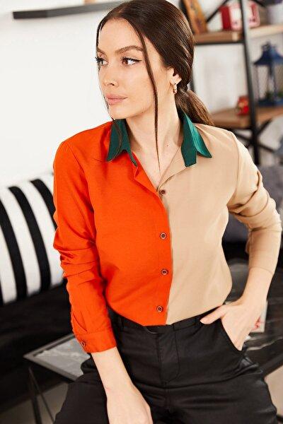 Kadın Kiremit Bloklu Uzun Kollu Gömlek ARM-21K001103