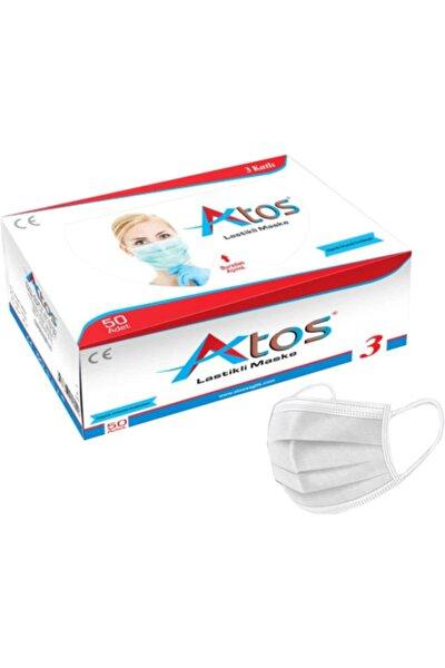 2 Kutu 100 Adet Düz Ve Esnek Lastikli Burun Telli Nonwoven Ultrasonik 3 Katlı Beyaz C. Maske