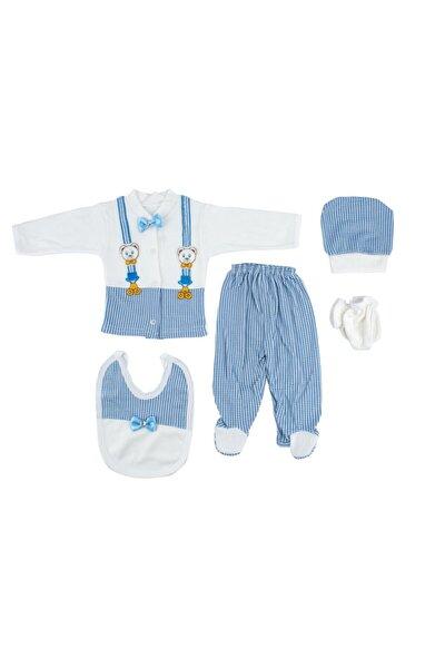 Yeni Doğan Bebek Mavi Ayı Nakışlı Kurdele Detaylı Hastane Çıkışı 5'li Set