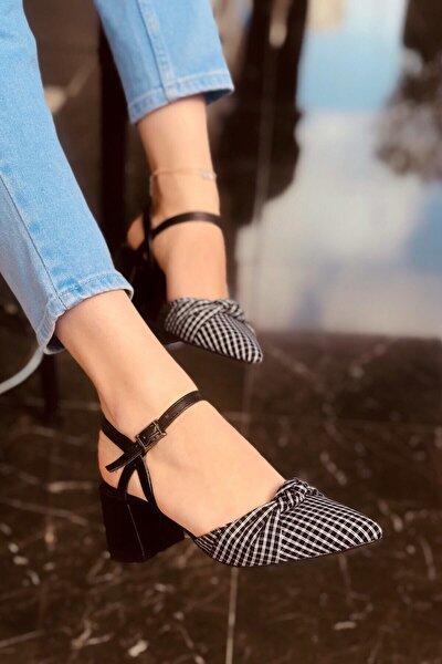 Kadın Mila Siyah Mat Ekose Topuklu Ayakkabı