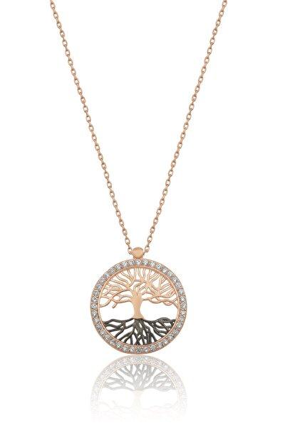 Kadın Hayat Ağacı Nano Zirkon Taşlı Rose 925 Ayar Gümüş Kolye  Uvps100520