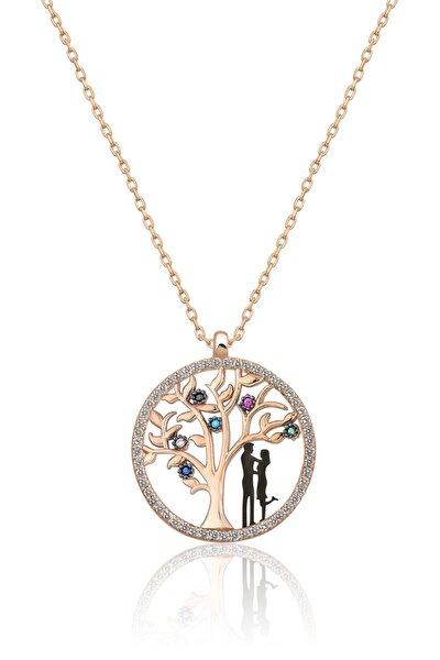 Kadın Hayat Ağacı Renkli Nano Zirkon Taşlı Rose Gold Kaplama 925 Ayar Gümüş Kolye  Uvps100510