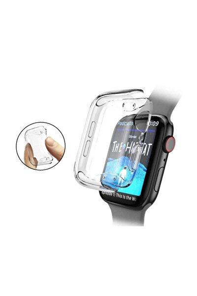 Apple Watch Seri 5 44 Mm Önü Kapalı Tasarım Silikon Kılıf - Şeffaf