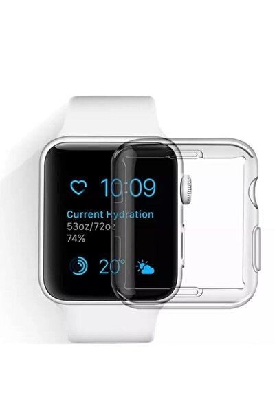 Apple Watch 1 2 3 4 5 6 Se Serisi ( 44mm ) 360 Tam Koruma Şeffaf Silikon Kılıf Premium Model