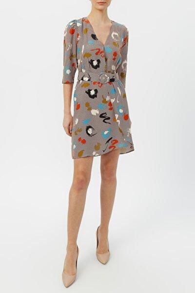 Kadın Kruvaze Yaka Beli Kemerli Desenli Elbise %58 Vıscon %42 Polyester