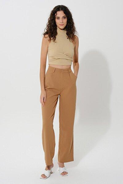 Ayarlanabilir Düğmeli Yüksek Bel Pantolon Kahverengi
