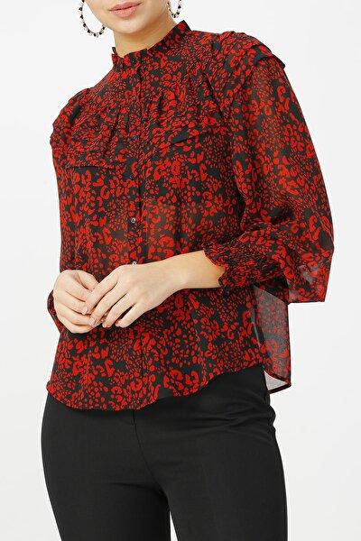 Kadın Hakim Yaka Desenli Gömlek %100 Polyester