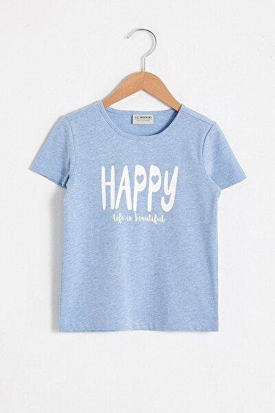 Kız Çocuk Mavi Melanj L9D T-Shirt
