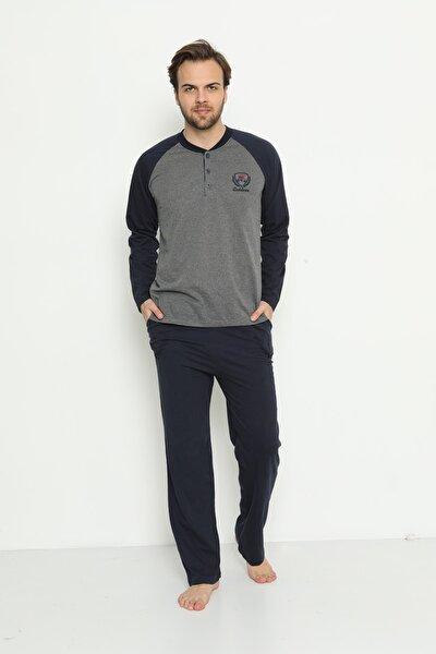 Erkek Gri Uzun Kollu Cepli ve Yaka Düğmeli Süprem Pijama Takımı 01737