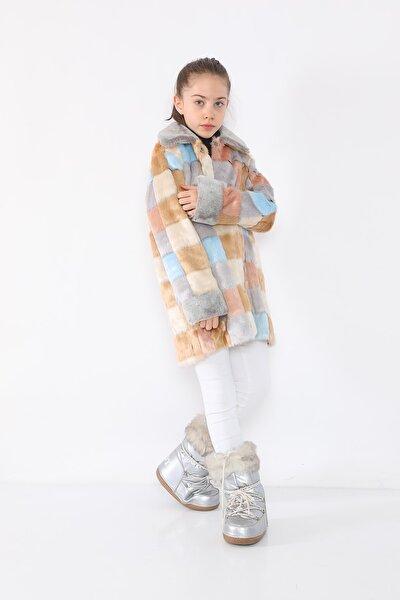 Kız Çocuk Gri Kareli Kürklü Mont