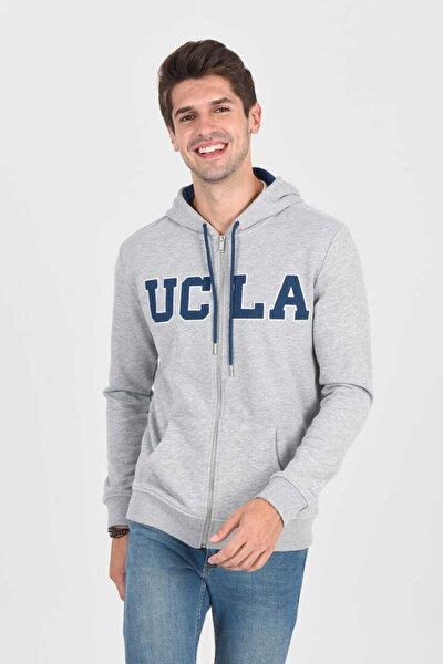 Dorıs Gri Kapüşonlu Ve Fermuarlı Erkek Sweatshirt