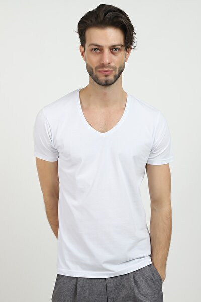 Derin V Yaka Likralı Beyaz Renk T-shirt