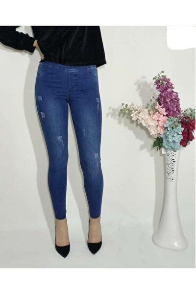 Kadın Tırtıklı Mavi Yüksel Bel Lastikli Kot Pantolon