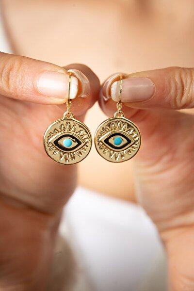Kadın Sarı Göz Model Küpe
