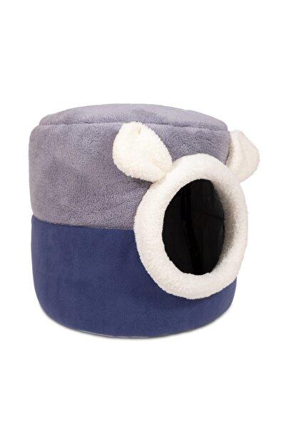 Mavi Gri Kutu Kedi Yatağı Yuvası Yıkanabilir 40x40 Cm