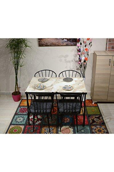 Beyaz Mermer Masa+4 Sandalye Gri