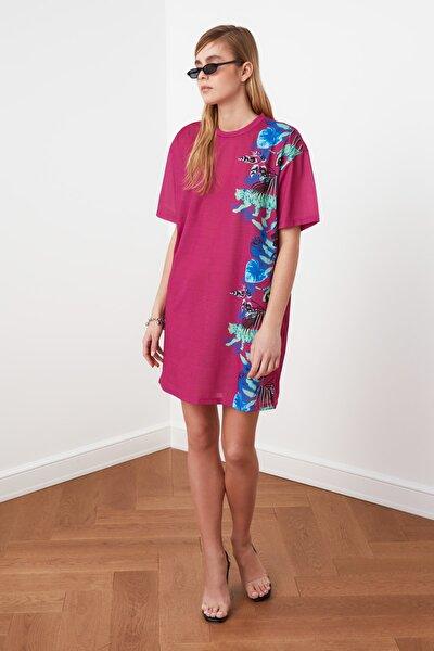 Mor Baskılı Örme Elbise TWOSS21EL0695