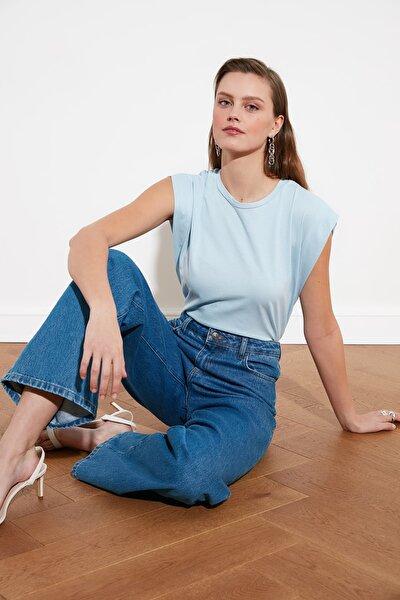 Mavi Kolsuz Basic Örme T-Shirt TWOSS20TS0021