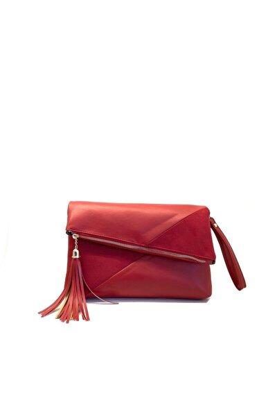 Kadın Kırmızı Suni Deri Clutch Çanta