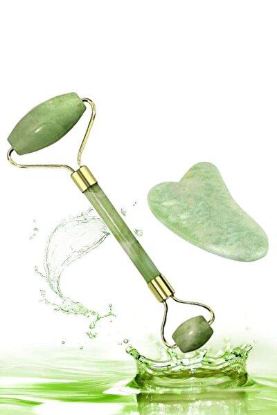 2'li Yeşim Masaj Taşı Roller Yeşil Face Roller Ve Guasha Seti Yüz Vücut Masaj Seti
