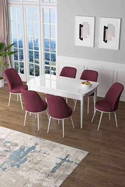 Zen Serisi Mdf Açılabilir Mutfak Masası Takımı-yemek Masası Takımı Beyaz Masa+6 Bordo Sandalye