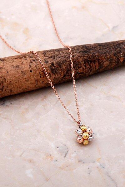 Dorissa Altın Yaldızlı Rose Gümüş Kolye 7054