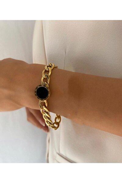 Yuvarlak Siyah Içli Roma Rakamlı Vintage Kalın Zincir Gold Çelik Bileklik Garnti Belgeli