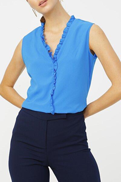 Kadın Fırfır Detaylı Kolsuz Bluz %100 Polyester