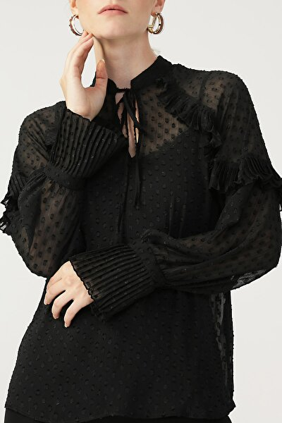 Kadın Piliseli Boyundan Bağlamalı Bluz %100 Polyester