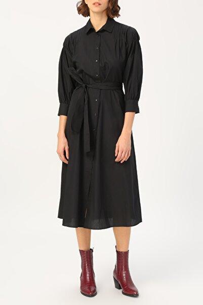 Kadın Kol Detaylı Belden Bağlamalı Gömlek Elbise %100 Cotton