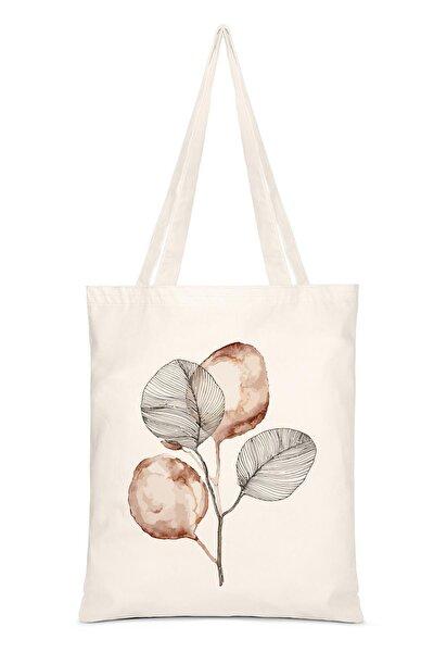 Kadın Bej Brown Flower Baskılı Bez Çanta