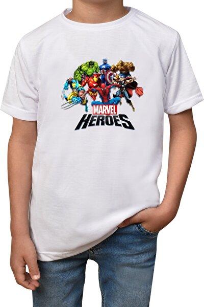 Marvel- Beyaz Çocuk - Yetişkin Unisex T-shirt-marvel-t-1