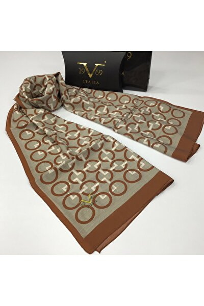 Kahverengi Krem Modal Şal 75x200 Cm Eşarp Askısı Ile Birlikte 15174-v07