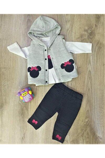 Hippıl Baby Kız Bebek Çıtçıtlı Yelekli Kapüşonlu 3 Parça Takım-0162